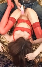 Ibuki Asian babe is fucked under red thong and gets toes in mouth