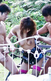 Asuka Ishihara Asian is nailed in mouth and vagina by men outdoor