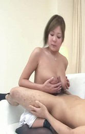 Hiyoko Morinaga Asian has cans sucked and rubs dick between them