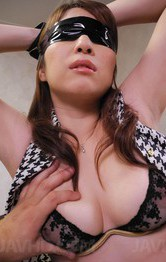 Araki Hitomi Asian has cans fondled while having cunt full of cum