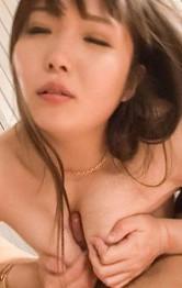 Haruka Oosawa Asian in stockings licks and sucks dong like whore
