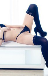 Yuria Asian doll in arousing lingerie teases twat with vibrator