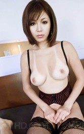 Mai Kuroki Asian in stockings plays with tongue all over penis