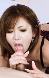 Mai Kuroki Asian exposes her nude assets and sucks penis so well