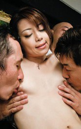 Maki Hojo Asian rides boner while stroking other two shlongs
