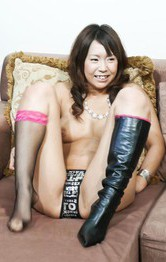 Arisa Aoyama Asian in stockings fucks willing twat with vibrator