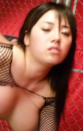 Azusa Nagasawa with huge jugs in ripped fishnet gets dong doggy