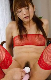Maomi Nakazawa Asian in red stockings squirts under vibrator