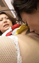 Ai Yuumi Asian in fishnets is doggy nailed in licked lower lips