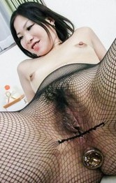 Nana Saitou gets vibrator in fishnets and hard boner in mouth