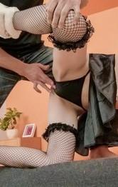 Tsubasa Aihara with fishnets and dark nipples fucks hard penis