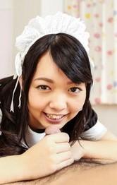Hikaru Morikawa Asian maid gets strong fuck after licking balls