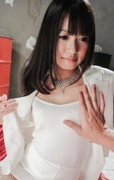 Kotomi Asakura in fishnets and with racy chest is fucked in peach