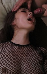 Yui Hatano in fishnet jumpsuit sucks dong and is fucked big time