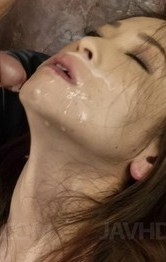 Mei Naomi aroused, strokes and sucks dick till gets cum on face