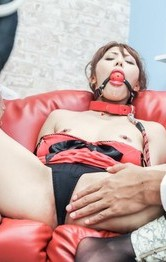 Mei Aso with ball in mouth and tied gets vibrators on her crack