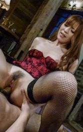 Saori Asian busty in black stockings is fucked by sucked boner