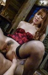 Saori Asian in black stockings has asshole and twat fingered