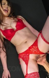 Reika Ichinose in red lingerie licks cock and gets it in poonanie